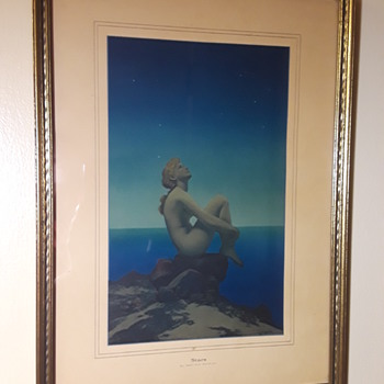 "old framed MAXFIELD PARRISH print ""STARS"" - Fine Art"