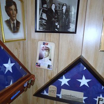 WW-2, Spanish American War memorial in 2nd bedroom and dad's hats!