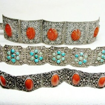 Chinese Carnelian, Coral, and Turquoise Filigreed Bracelets