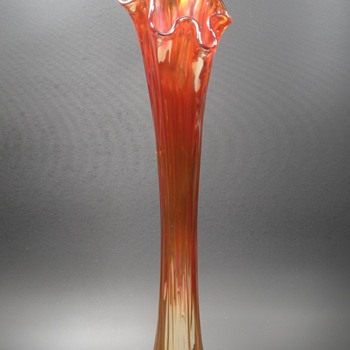 "Fenton #916 Ruffled Swung Vase - Marigold Carnival Glass - 17""  - Art Glass"