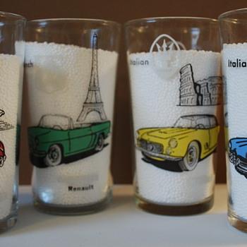 European Sports Car Tumblers-MG, Renault, Mercedes, Jaguar, Alfa Romeo - Glassware