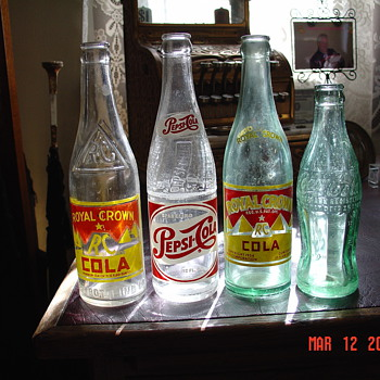 Old Soda Bottles...Royal Crown...Pepsi-Cola...CocaCola...From The 20's To The 50's - Bottles