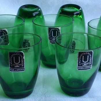 Modern 1950s (most likely) J Wuidart & Co Ltd London glasses made in Sweden - Glassware