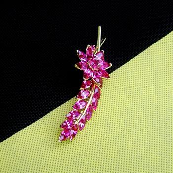 Crown Trifari Leaf Flower Brooch - Costume Jewelry