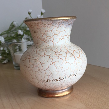Off-White Crackle Vase - Pottery
