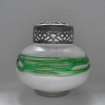 Kralik Corded Iridescent Rose Bowl - Art Glass