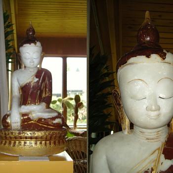 Burmese alabaster Buddha ... - Asian