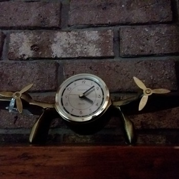 1983 Sarasparilla Solid Bronze Art Deco Airplane Alarm Clock - Art Deco