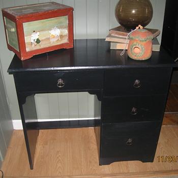 Vintage School desk I painted black from Catholic School in Arlington,MA - Furniture