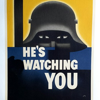 "Original 1942 ""He's Watching You"" WW2 Offset Lithograph Poster"
