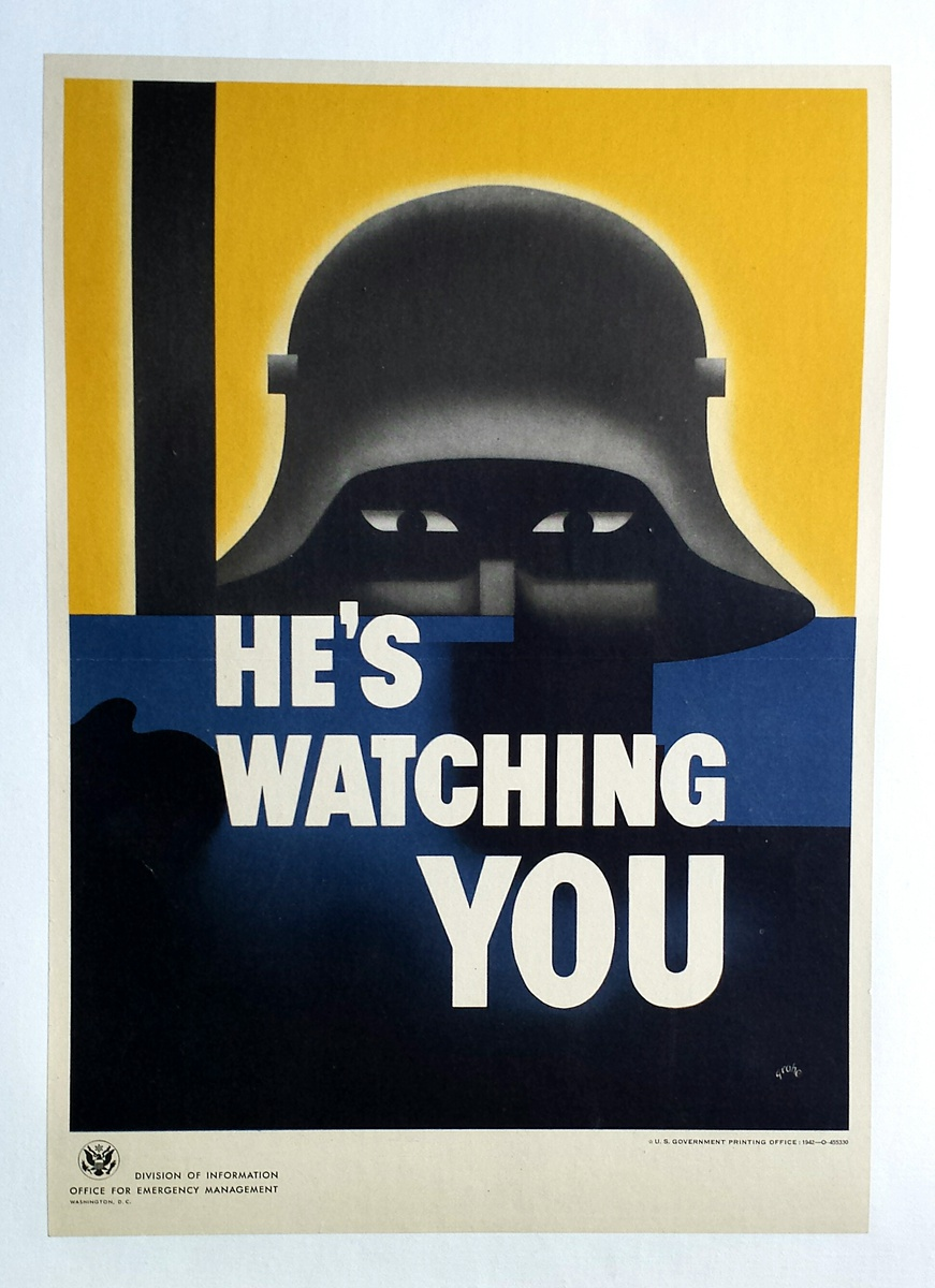 Hes Watching You World War 2 US Military Vintage Poster