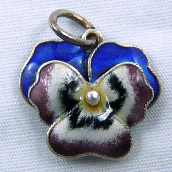 Sterling Silver Enamel 3D Victorian Pansy Flower Charm 925 - Fine Jewelry
