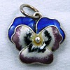 Sterling Silver Enamel 3D Victorian Pansy Flower Charm 925