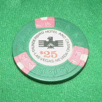 Vintage/Antique Thunderbird Hotel & Casino $25 Poker Chip