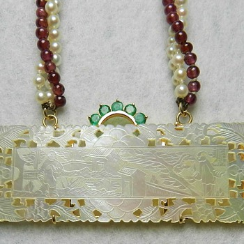 14k Gold, Emeralds, Pearls, & Garnets - 19th Century Chinese Gambling Token - Fine Jewelry