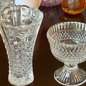 Antique Anglo Irish Crystal Compote Complicated Pattern Cone Shape Base - Glassware