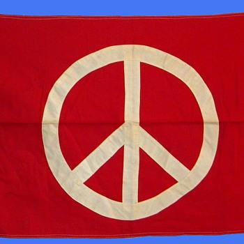 "Original Hippie 1960s-1970's Peace Sign Flag 22""x36"" - Politics"