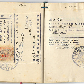 Rare WW2 issued Chinese visa inside a Polish passport - Paper