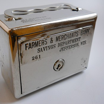 "Promotional Advertising Steel Bank""Farmers & Merchants Bank, Jefferson, Wisconsin""Circa 1920 - Coin Operated"