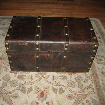 Small Leather Covered Trunk - Furniture