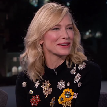 Cate Blanchett on Jimmy Kimmel 10.05.15 - Check out her fabulous brooch sweater! - Costume Jewelry