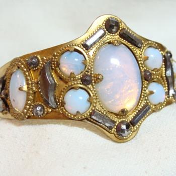Georgian Cut Steel and Opaline Glass Bracelet - Fine Jewelry