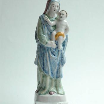 "antique french majolica  of virgin figure ""notredame du chene"" by EMILE TESSIER"