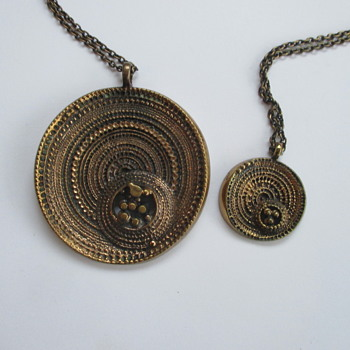 2 bronze necklaces by Jorma Laine Finland