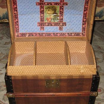 Interior of Unique Antique Doll Trunk