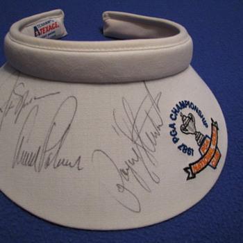 Autographed 1987 PGA Championship Sun Visor - Hats
