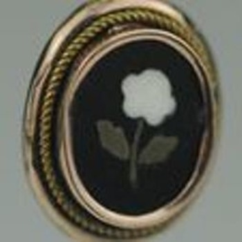 Pietra Dura Flower Stick Pin 9K - Fine Jewelry