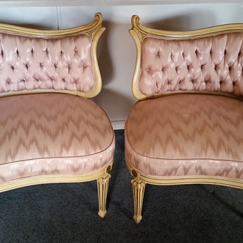 Who is the maker of these Antique Fireside Italian or French Chairs?