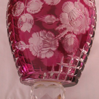 Bohemia Cut Glass Vase - Art Glass