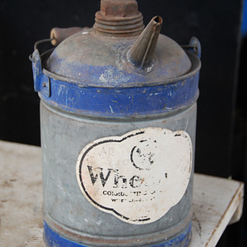 Wheeling Corrugating Company Gas/Oil Can with a Spout - Petroliana