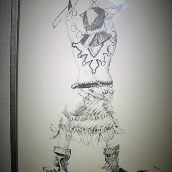 NATIVE American Apache Dancer Signed JAMES BRANSCUM etching ART - Fine Art