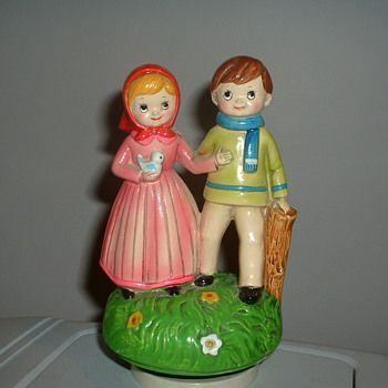Vintage Musical Figurine Boy and Girl walking - Music Memorabilia