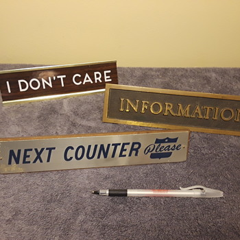 three assorted small office desk/counter/window signs - Office