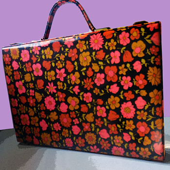 Vintage 60s / 70s Hippy Dippy Flower Power Briefcase - Bags
