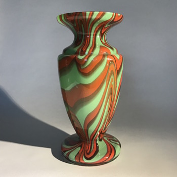 Czech Bohemian Green Vase with a Swirl Décor - Art Glass