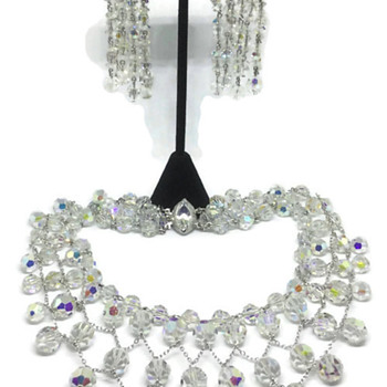 """Sherman """"Spider Web"""" Necklace & Earrings - Costume Jewelry"""