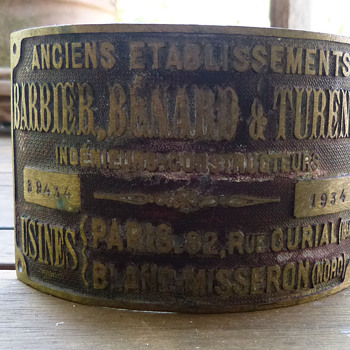 Barbier, Benard & Turenne Brass Plate from 1934 - Signs