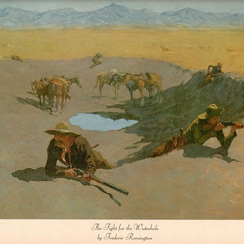 "Frederic Remington print - ""Fight For The Waterhole"" - Fine Art"