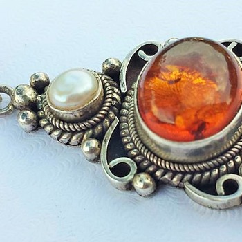 Amber & Sterling Silver Pendant - Fine Jewelry