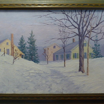 """Snowbound Homes"", oil painting by Hedley Waycott circa 1919 - Fine Art"