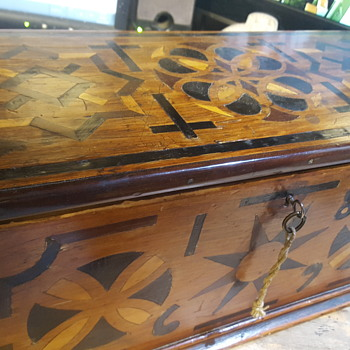 Antique Inlaid Box With Key 1869 - Furniture
