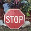 Metal Stop sign.
