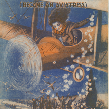 "Sheet Music , 1919 ""Since Katie The Waitress Became An Aviatrix"" She Goes Bathing In The Milky Way. - Music Memorabilia"