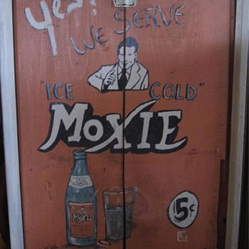 Old Moxie Sign - wooden