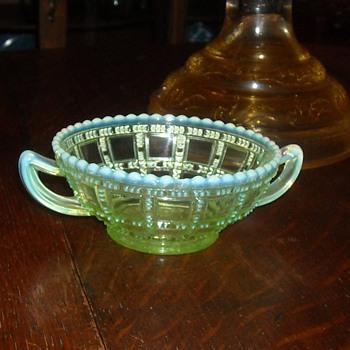 Vaseline Glass Beaded Block Small Bowl with Sea Foam Trim - Glassware