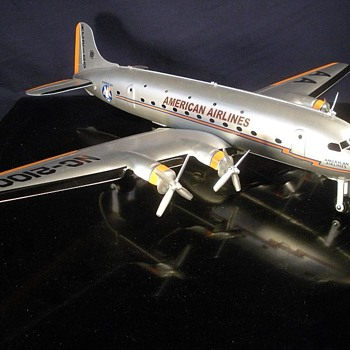 Vintage Marx Pressed Steel Douglas DC-4/7 Mark 4 American Airlines- Overhauled - Advertising